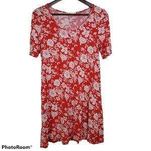 Heart Hips Dress Red White Floral Mini A Line Knit